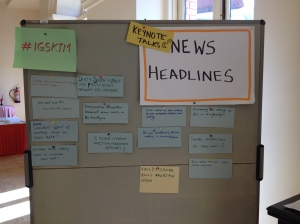After the daily keynote talk, tables took 5 minutes to create a newspaper headline.