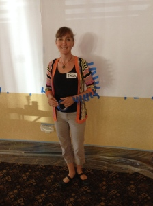 Guest Blogger and Social Reporter Lisa Thiessen demonstrates tape tricks!